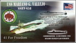 19-241, 2019, USS Mariano G Vallejo, Pictorial Postmark, Event Cover, SSBN-658