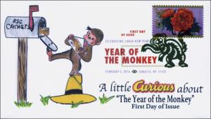 2016, Year of the Monkey, FDC, Digital Color Postmark, Lunar New Year, 16-044