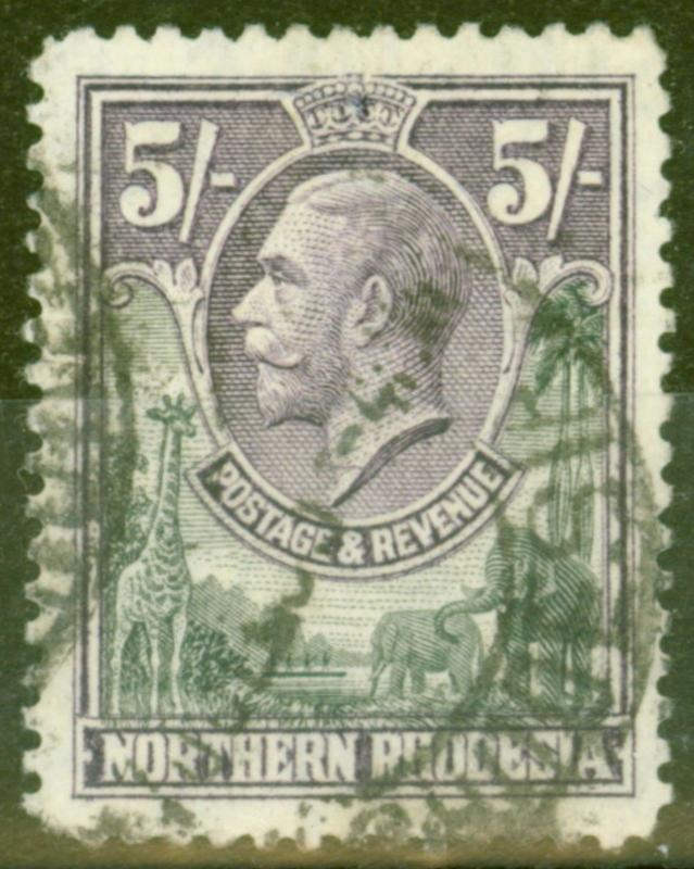 Northern Rhodesia 1925 5s Slate-Grey & Violet SG14 Good Used