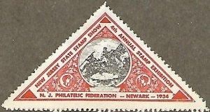 US CINDERELLA: 4th Annual New Jersey State Stamp Show MH orange sticker (1934)