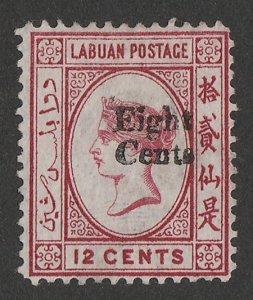 LABUAN : 1881 'Eight Cents' on QV 12c carmine, wmk crown CC reversed.