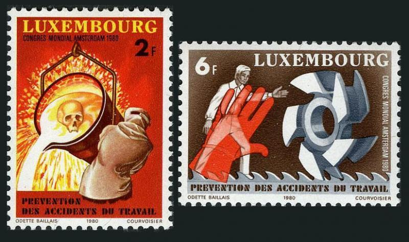 Luxembourg 644-645 blocks/4,MNH.Mi 1012-1013.Congress on Prevention of Accidents