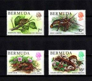 BERMUDA - 1979 - TREE FROG - LAND CRAB - SPINY LOBSTER - SKINK - 4X MNH SINGLES!
