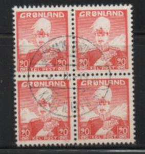 Greenland Sc 6 1946 20 ore Christian X stamp used block of 4