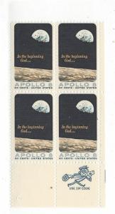 United States, 1371, Apollo 8 ZIP Block of 4, LR, MNH