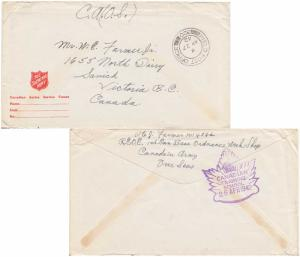Canada Soldier's Free Mail 1942 Field Post Office, 320 SC 3 Headquarters, Can...