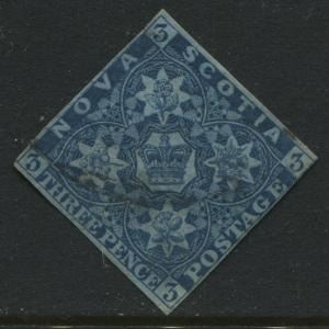 Nova Scotia 1851 3d blue used