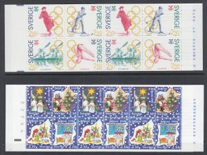 Sweden Sc 1897a, 1913b MNH. 1991 Olympics & Christmas, 2 Intact Booklets, VF