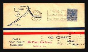 Bahamas FAM 7 First Flight Cover to Miami - Z17782