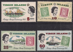 British Virgin Islands 1966 QE2 Set Stamp Centenary Umm SG 203 - 206  ( C1047 )