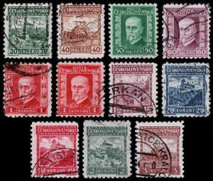 Czechoslovakia Scott 126-136 (1927-31) Used H F-VF Complete Set B