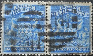 Rhodesia 1892 Six Pence pair with Barred 914 postmark