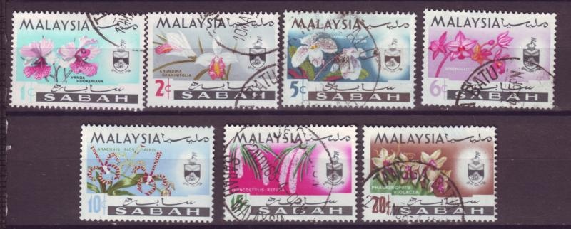 J18019 JLstamp  [low price] 1965 malaya sabah set mh/used #17-23 flowers