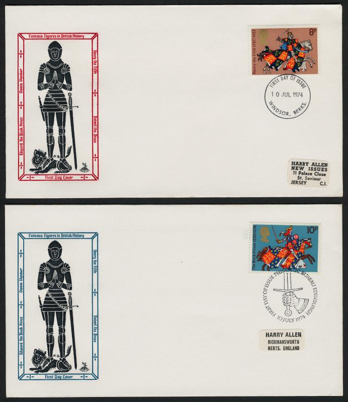 Great Britain 724-7 FDC's Horses, Robert the Bruce, King Henry V, Black Prince