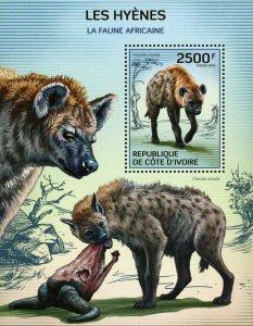 Hyenas Stamp Wild Animal Crocuta Crocuta African Fauna S/S MNH #1593 / Bl.205