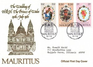 Mauritius 520-522 Royal Wedding Typed FDC