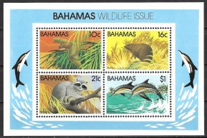 Bahamas Wildlife Series II Souvenir Sheet issue of 1982, Scott 517a MNH