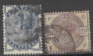 COLLECTION LOT OF # 1643 GREAT BRITAIN # 98+101 1884 CV= $27