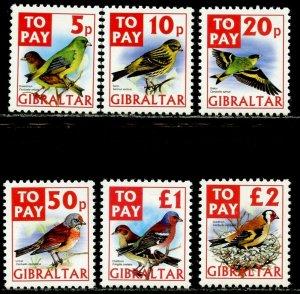 GIBRALTAR Sc#J26-J31 2002 Postage Due Birds Complete Set OG Mint NH