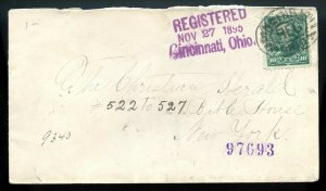U.S. 10 Cent First Bureau Issue On 1895 Registered Cover