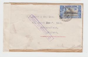 SIERRA LEONE -UK 1940 CENSOR (#2) COVER +TAPE(1b), 3d RATE (SEE BELOW