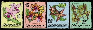 GUYANA Sc#138a-140a, 141b 1976 Flowers Re-issued Perf. 13 Complete OG MH