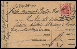 Germany WWI Turkey SMS Goeben Marine Postbureau Berlin Feldpost 66191