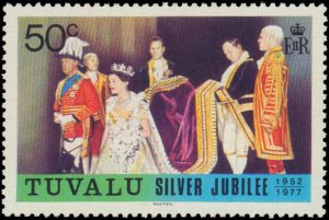 Tuvalu #43-45, Complete Set(3), 1977, Royalty, Never Hinged
