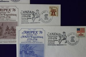 ARIPEX 1976 Philatelic show expo souvenir cachet cover set ANZA Expedition 1776
