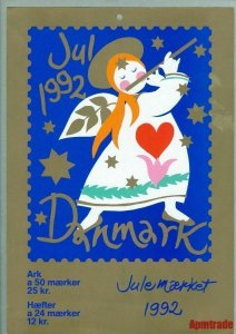 Denmark. Christmas Seal. 1992. 1 Post Office,Display,Advertising Sign. Angels
