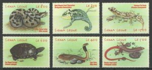 Sierra Leone MNH 3795-3800 Snakes Lizards Turtles Reptiles 2001
