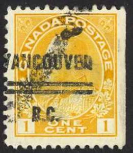 Canada Precancel Sc# 1-105 (Vancouver) Used 1911-1931 1¢ KGV Admirals