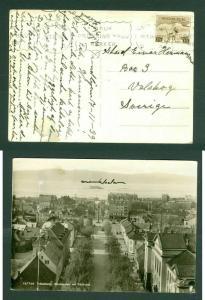 Norway. Photo Postcard 1938. Munkegaten Trondheim. Sc # 181.Reindeer. Adr:Sweden