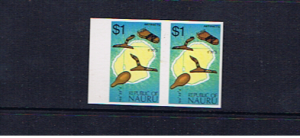 NAURU 1973 $1 DEFINITIVE IMPERFORATE PAIR