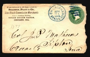US 1877 Chicago Commercial Cover / Blue CDS - L4738