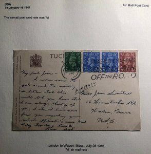 1946 London England Picture Postcard Cover To Wabon MA USA The Horse Guards