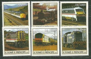 St. Thomas & Prince Islands MNH 1560A-F Trains SCV 9.00