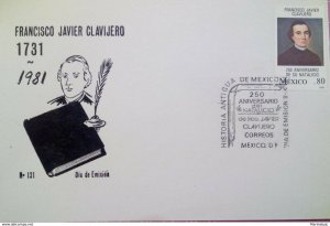 J) 1981 MEXICO, 250 YEARS OF THE BIRTH OF FRANCISCO JAVIER CLAVIJERO, POSTCARD