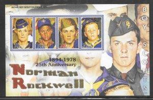 Ghana #2406 MNH Norman Rockwell  Scouts Souvenir Sheet