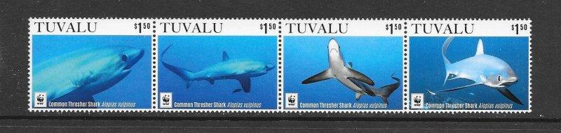 SHARKS - TUVALU #1363 THRESHER SHARKS   MNH