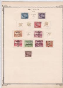 costa rica stamps on 2 album page ref 13474