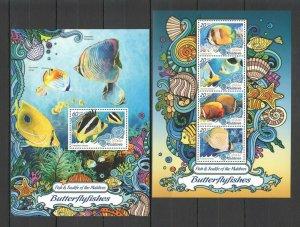 ML047 2016 Maldivas Pescado Y Vida Marina Butterflyfishes Bl+ KB MNH