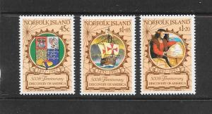 NORFOLK ISLAND - #517-19-DISCOVERY OF AMERICA ANNIVERSARY MNH