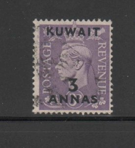 KUWAIT #77  1948  3a on 3p   KING GEORGE VI SURCHARGED   F-VF  USED   d