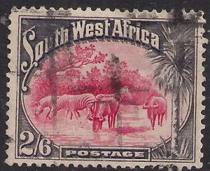 South West Africa 1931 KGV 2/-6d Zebras & Wildebeests used SWA SG 82 ( J1443 )