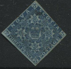 Nova Scotia 1851 3d dark blue very lightly used