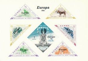 Stamp Great Britain 1961 UK Europa Lundy Souvenir Sheet MNH