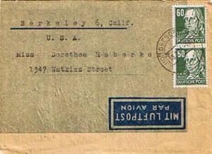 Germany Soviet Zone 60pf Hegel (2) 1950 (10) Dresden A 20 Air Letter to Berke...
