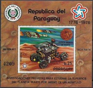 1977 Paraguay Project Viking, Mars Rover, Sheet Nr. 294 VF/MNH, CAT 38$