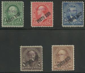 PUERTO RICO #210S-214S 1899 SPECIMEN OVERPRINT SET -- VERY RARE -- HW3988